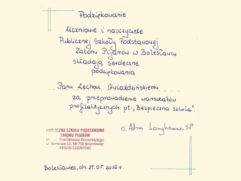 Podziękowania z Publicznej Szkoły Podstawowej Zakonu Pijarów w Bolesławcu